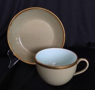 Wedgwood drabware cup & saucer, gilt rims, circa 1820-0