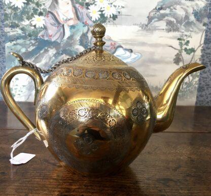 Damascus ware teapot, inlayed with silver, circa 1900 -22119