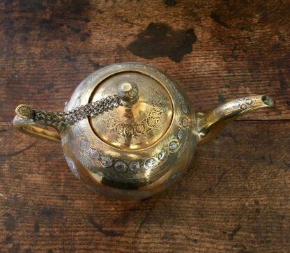 Damascus ware teapot, inlayed with silver, circa 1900 -22122