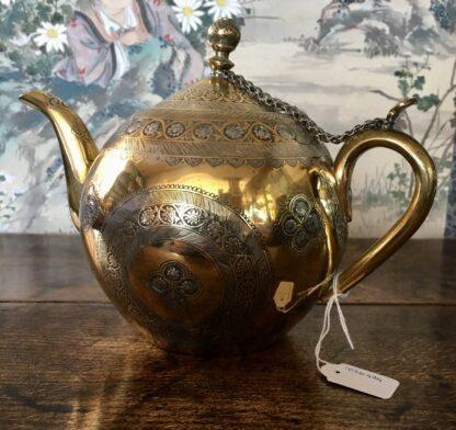 Damascus ware teapot, inlayed with silver, circa 1900 -22120