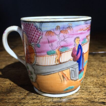 Newhall coffee cup & saucer, boy in window pattern, c.1800 -22195