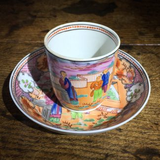 Newhall coffee cup & saucer, boy in window pattern, c.1800 -0