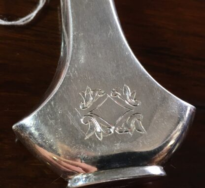 Sterling Silver perfume bottle, flask form with engraving, c.1920-21693