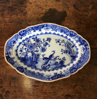 Chinese Export serving plate, bird & rock pattern, c. 1760-0
