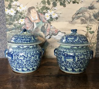 Pair of Chinese porcelain pots, cricket handles, 20th century-0