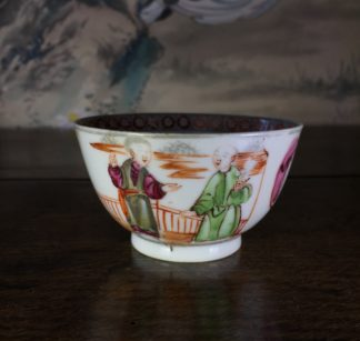 Chinese Export teabowl, polychrome figures, c. 1765-0