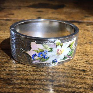 Victorian Silver cuff bracelet, 'Orange Blossom' enamels,Robinson's Patent c. 1875 -0