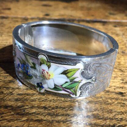 Victorian Silver cuff bracelet, 'Orange Blossom' enamels,Robinson's Patent c. 1875 -22298