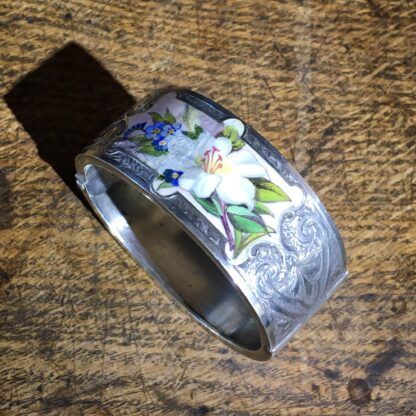 Victorian Silver cuff bracelet, 'Orange Blossom' enamels,Robinson's Patent c. 1875 -22301