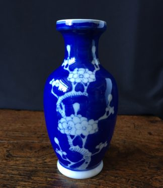 Chinese Export vase with prunus on blue, c. 1880 -0