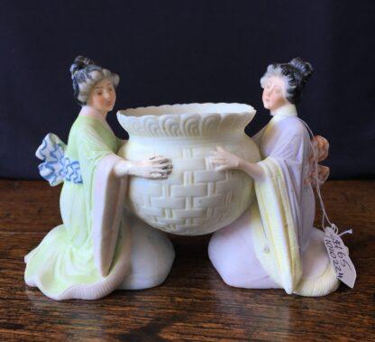 German bisque 'Japanesque' vase, ladies with a basket, c. 1885-0