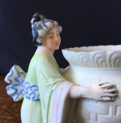 German bisque 'Japanesque' vase, ladies with a basket, c. 1885-21733