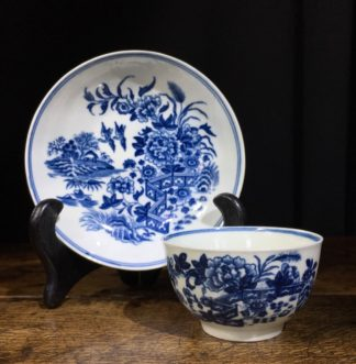 Worcester blue & white teabowl & saucer, Fence Pattern, c. 1780.-0