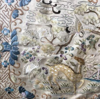 Chinese silk embroidery, birds & flowers, c. 1870-21777