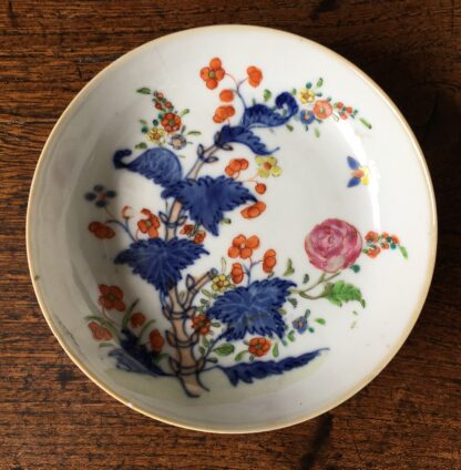 Chinese Export saucer, flowers & butterfly, c. 1760-0