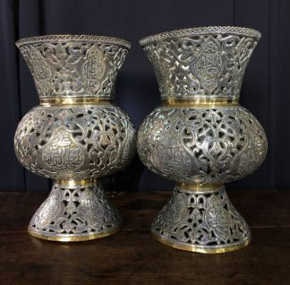 Large pair of Islamic brass vases or lanterns, pierced & inlaid with silver inscriptions, 19th c.-0