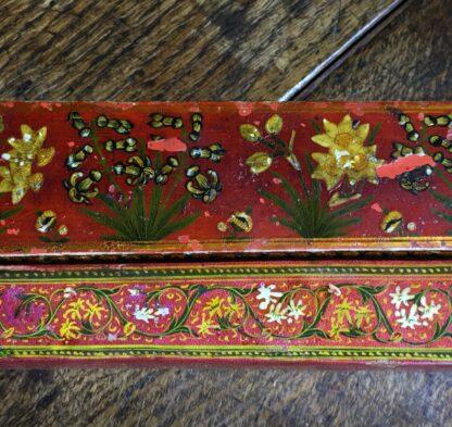 Persian lacquer 'Qalamdan' pen box, flowers, Qajar Iran, 19th century-22596