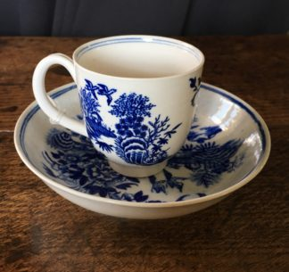 Worcester coffee cup and saucer, 'Fence' pattern, c. 1780-0