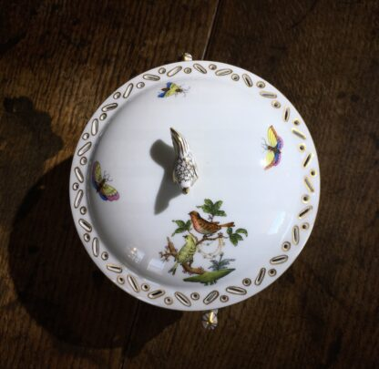 Herend covered bowl, bird pattern, 20th century-22686