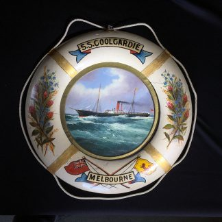 Oil painting of S.S.Coolgardie, Melbourne, in original lifebuoy frame, c.1900 -0