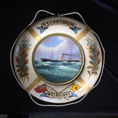 Oil painting of S.S.Coolgardie, Melbourne, in original lifebuoy frame, c.1900 -0