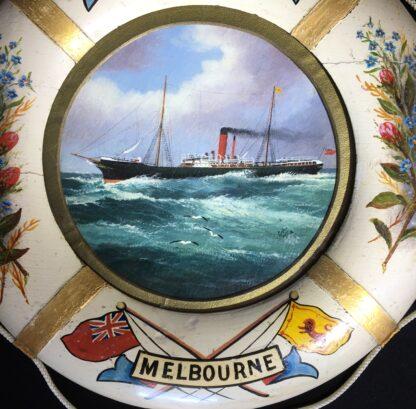 Oil painting of S.S.Coolgardie, Melbourne, in original lifebuoy frame, c.1900 -22626
