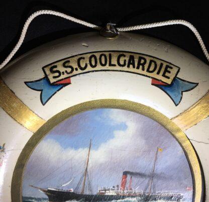 Oil painting of S.S.Coolgardie, Melbourne, in original lifebuoy frame, c.1900 -22624