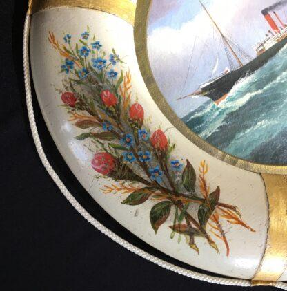 Oil painting of S.S.Coolgardie, Melbourne, in original lifebuoy frame, c.1900 -22623