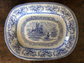 Staffordshire Pottery meat platter, blue ruins & landscape print, c. 1830-0