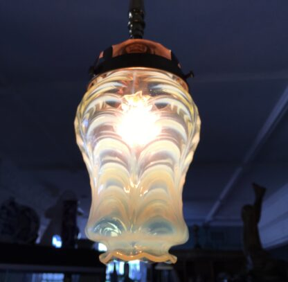 Whitefriars Vaseline glass 'Odin' light fitting, by Powell, c.1910-22669