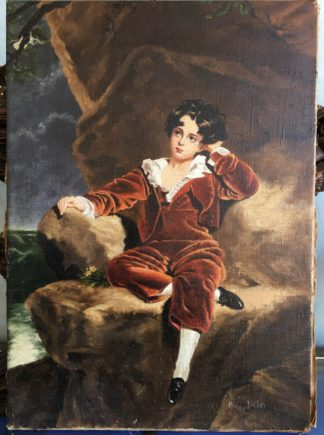 "20th C. oil copy of ""The Red Boy"" after Sir Thomas Lawrence -0"