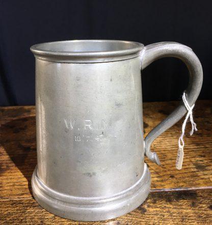 "Glass bottom pewter tankard, engraved ""W.R.M"" 10.7.47-0"