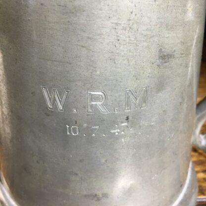 "Glass bottom pewter tankard, engraved ""W.R.M"" 10.7.47-22407"