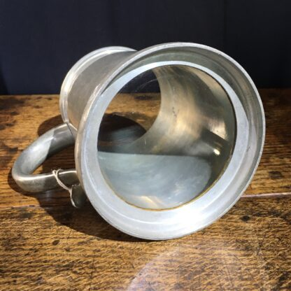 "Glass bottom pewter tankard, engraved ""W.R.M"" 10.7.47-22406"