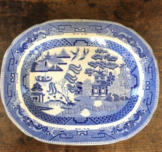 Staffordshire pottery willow pattern meat platter, c. 1850-0
