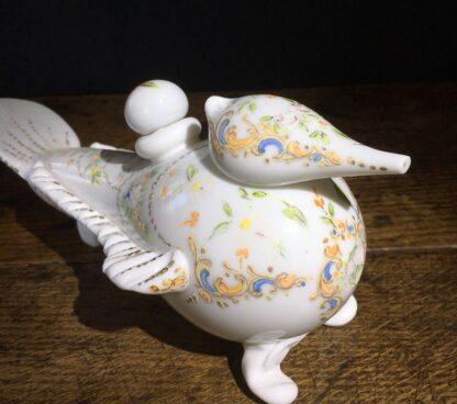 Unusual Turkish bird shaped milk glass flask, Beykoz, Circa 1850-22533