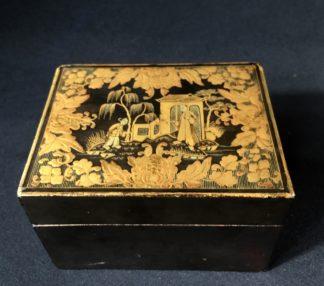 Chinese lacquer box, gold garden scene, C. 1830 -0