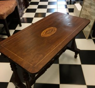 Small Victorian side table with inlay, reduced to a coffee table, late 19th century-0