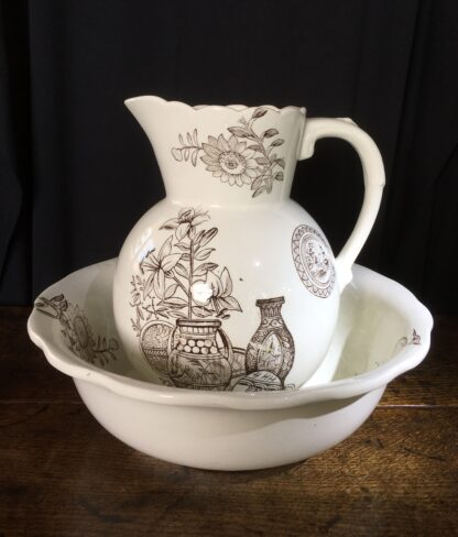 Japonesque pottery jug and basin C. 1880 -0