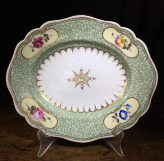 Chamberlains Worcester oval dish, flowers in reserves, c.1825 -0