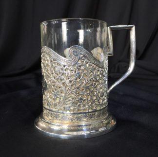 Iranian Silver & Glass coffee cup, head of a ruler, Qajar, 19th c.-0