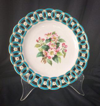 Minton plate, basket border & apple blossom C. 1870 -0