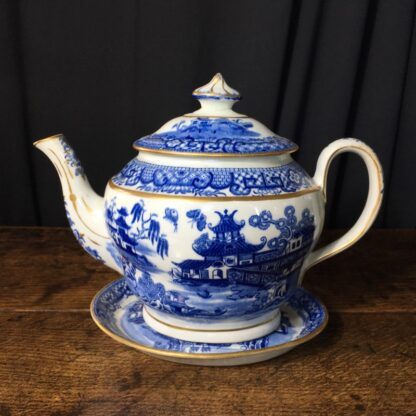 Newhall hard paste teapot & stand, two moths pattern, c.1800 -0