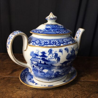Newhall hard paste teapot & stand, two moths pattern, c.1800 -22978