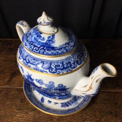Newhall hard paste teapot & stand, two moths pattern, c.1800 -22982