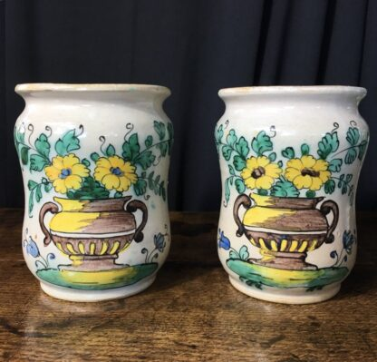 Pair of Italian Alberellos with flower vase dec., 18th Century -0