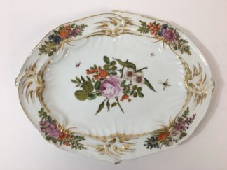 Chelsea gold anchor oval dish, colourful flowers, c.1760-0