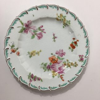 Chelsea feather edge plate, flowers, C 1760 -0