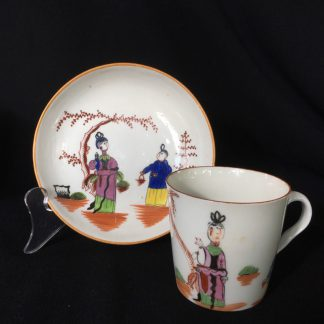 Chamberlains Worcester cup & saucer, Chinese figures, C.1796-8.-0