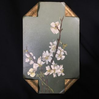Hand painted 'Blossom' wall plaque on tin, c. 1895 -0